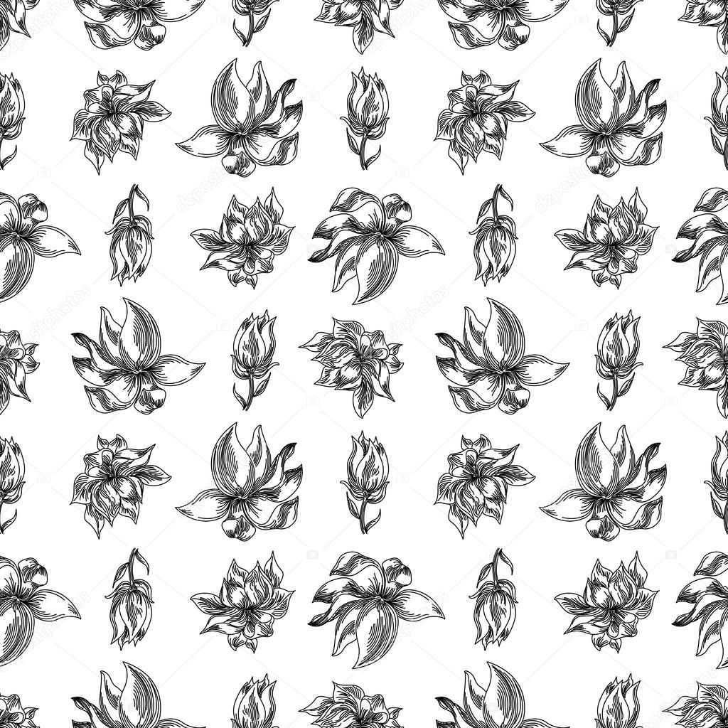 Seamless floral background with magnolia