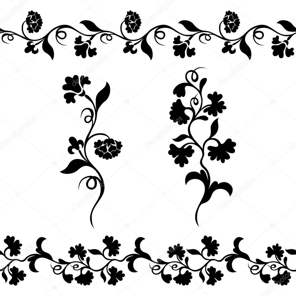 Black Flower Pattern Silhouette Stock Illustration: Floral Border Pattern, Silhouette Plant Ornament
