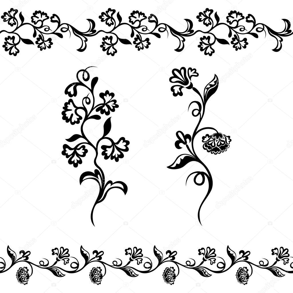 Black Flower Pattern Silhouette Stock Illustration: Floral Pattern, Silhouette Ornament Black