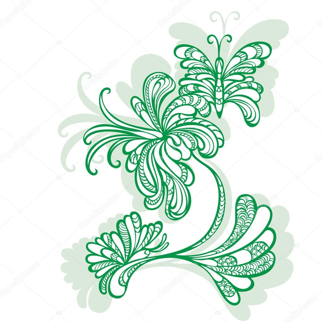 Decorative flower motif pattern butterflies