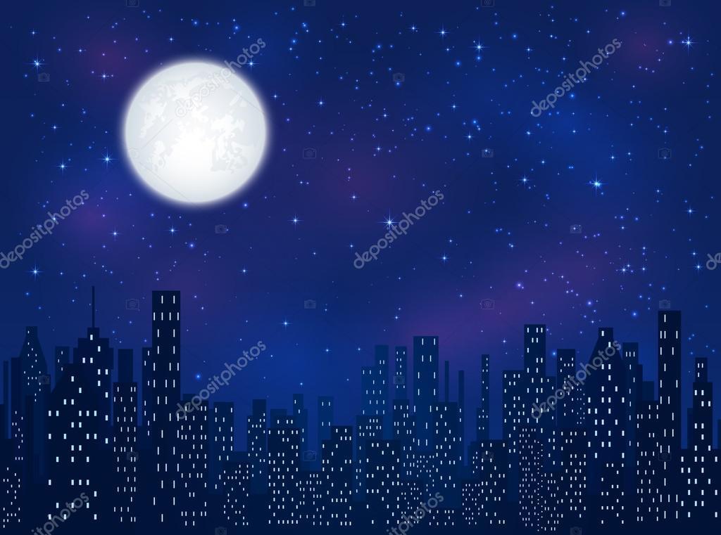 Mond über Nacht Stadt — Stockvektor © losw #108589266