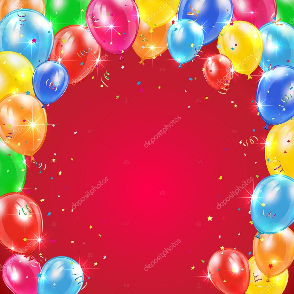Red Background With Frame From Flying Colorful Balloons Tinsel And Confetti Happy Birthday Theme Illustration