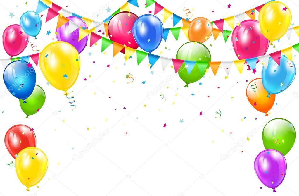 Tło Urodziny Z Balon 243 W I Proporczyki Na Białym Grafika