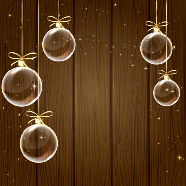 Christmas balls and stars on wooden background, illustration. clip art vector