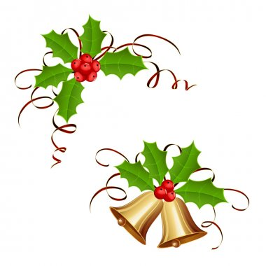 Christmas bells and holly berry with tinsel