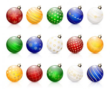 Set of colorful Christmas balls