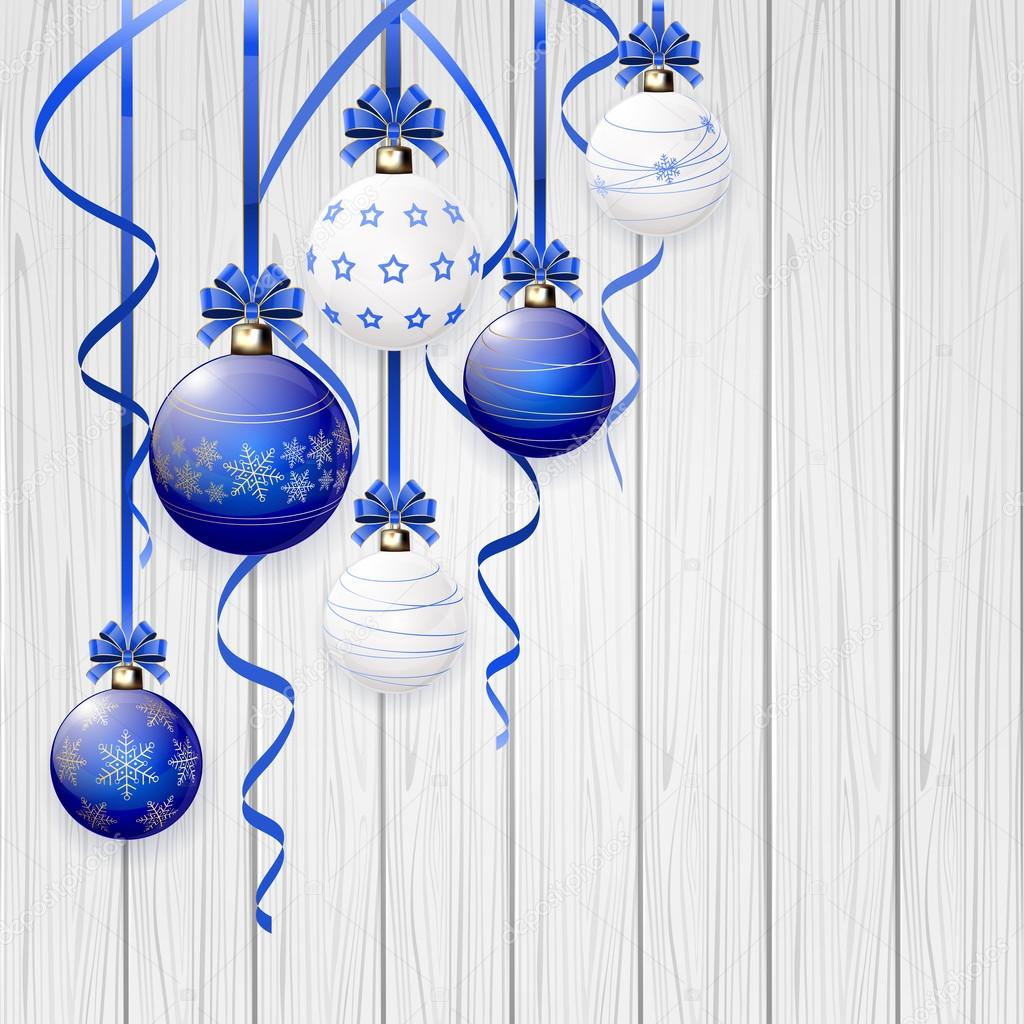 b507f35a26a81 Blue Christmas balls and tinsel on wooden background