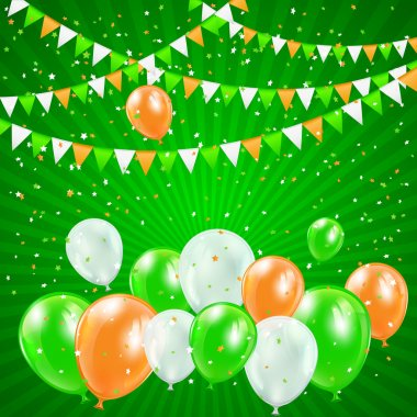 Patricks day balloons and confetti