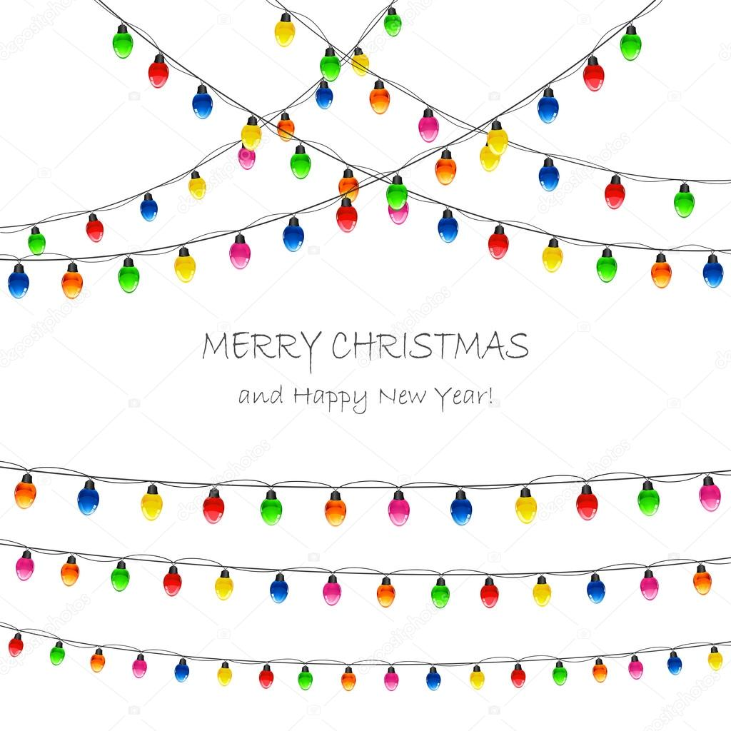 Christmas lights on white background — Stock Vector © losw #76742739