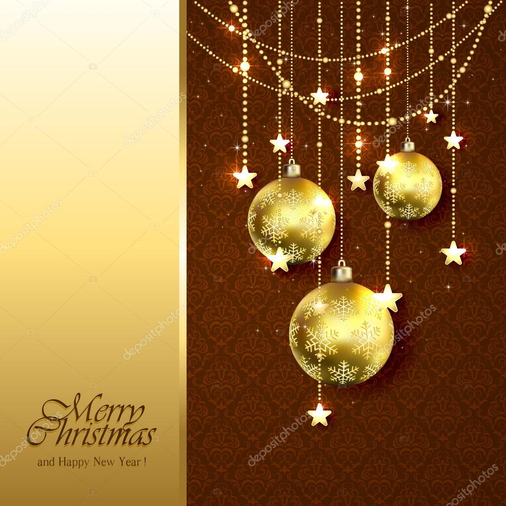 Bolas de navidad doradas sobre fondo marr n vector de - Bolas de navidad doradas ...