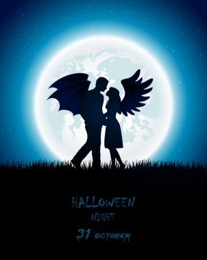 Dark Halloween night with enamored couple of angel and devil, full Moon on the sky background, illustration. stock vector