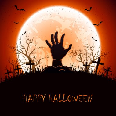 Halloween background with hand on cemetery