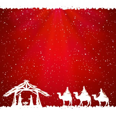 Christmas theme on red background