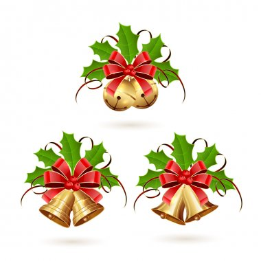 Set of Christmas bells with ribbon and holly berries