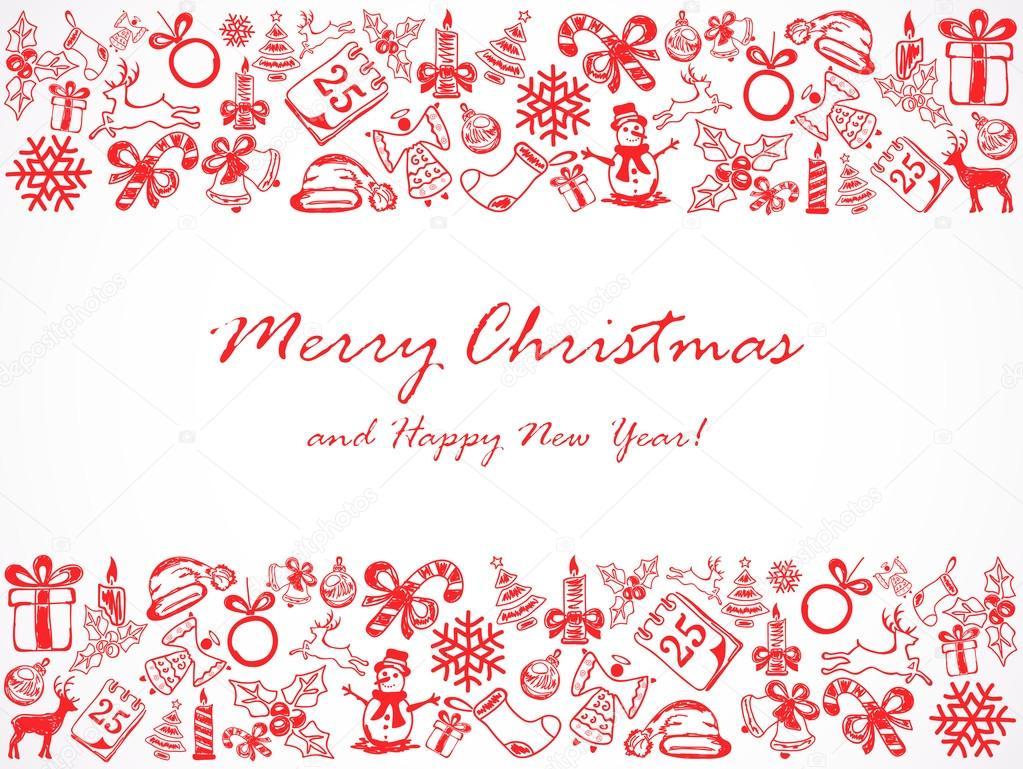 Weihnachten Hintergrund mit Rahmen aus Skizzen — Stockvektor © losw ...