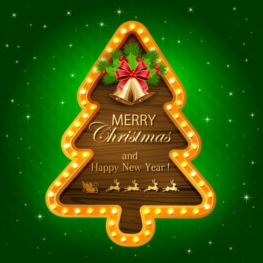 Green Christmas background with wooden banner