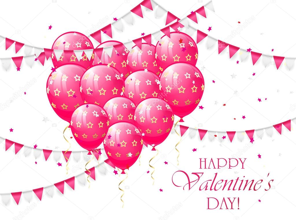 Valentines balloons and pennants