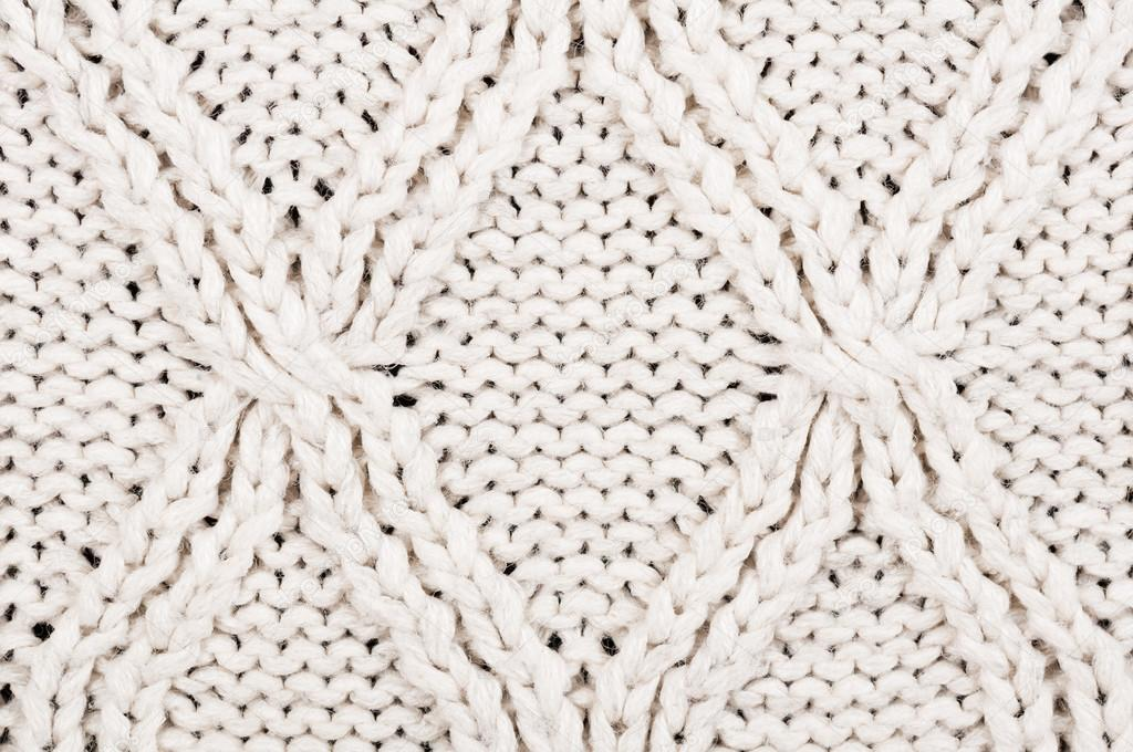 Close-up of beige knitted winter sweater with pattern — Foto de ...
