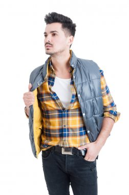 Fashion portrait of handsome stylish man wearing casual clothes