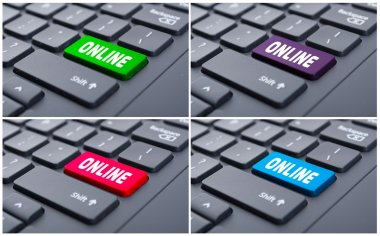Internet or network concept with online button