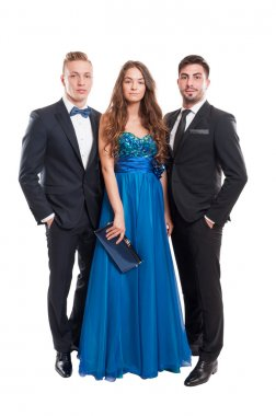 One woman and two men, all dressed elegant