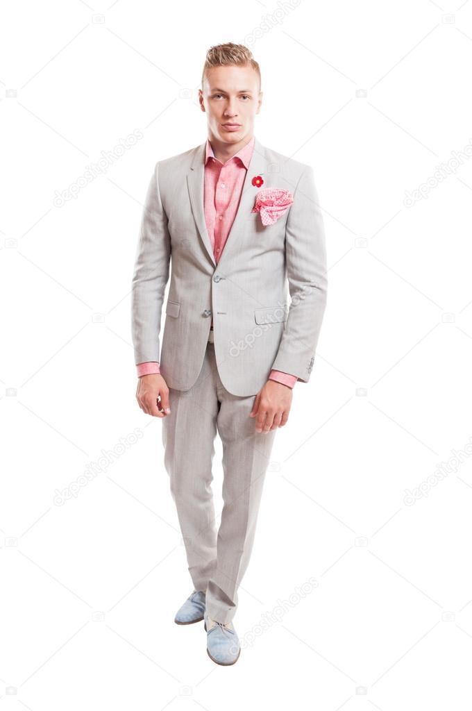 Blond Männliches Model Elegant Leichten Grauen Anzug Stockfoto