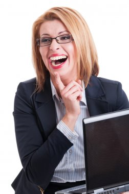 Business woman laughing hard