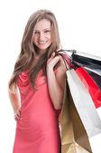 Mladá a krásná nákupní lady