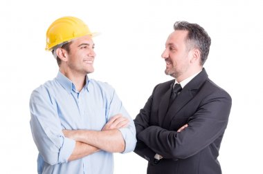 Confident engineer and business man face to face