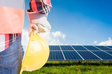 Engineer holding hardhat on solar power photovoltaic panels back