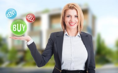 Woman real estate agent holding buy, sell and rent offers