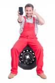 Contact auto service or tire vulcanization company concept