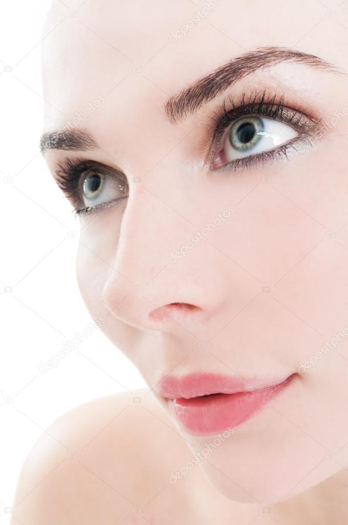967b9e1c30cd3 Close-up do rosto atraente modelo feminino — Fotografia de Stock