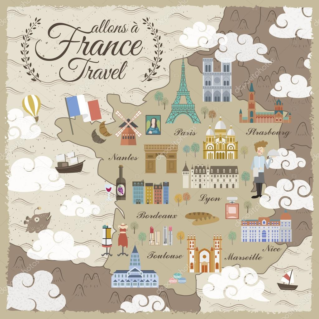 France travel map Stock Vector kchungtw 102980748