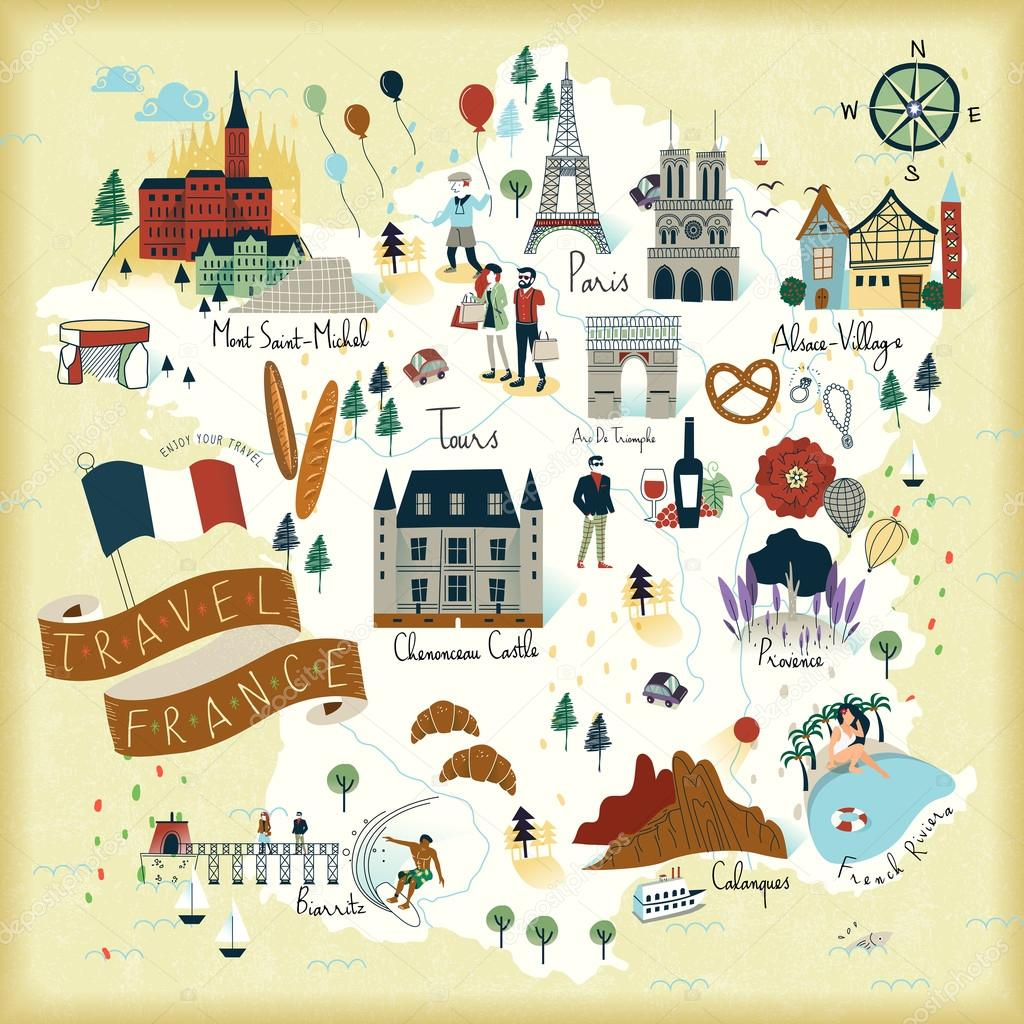 Travel Map Of France.France Travel Map Stock Vector C Kchungtw 102980970