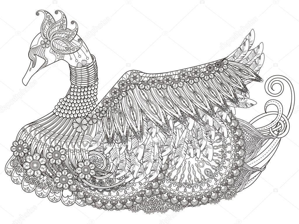 Zarif Kuğu Boyama Sayfası Stok Vektör Kchungtw 103773238