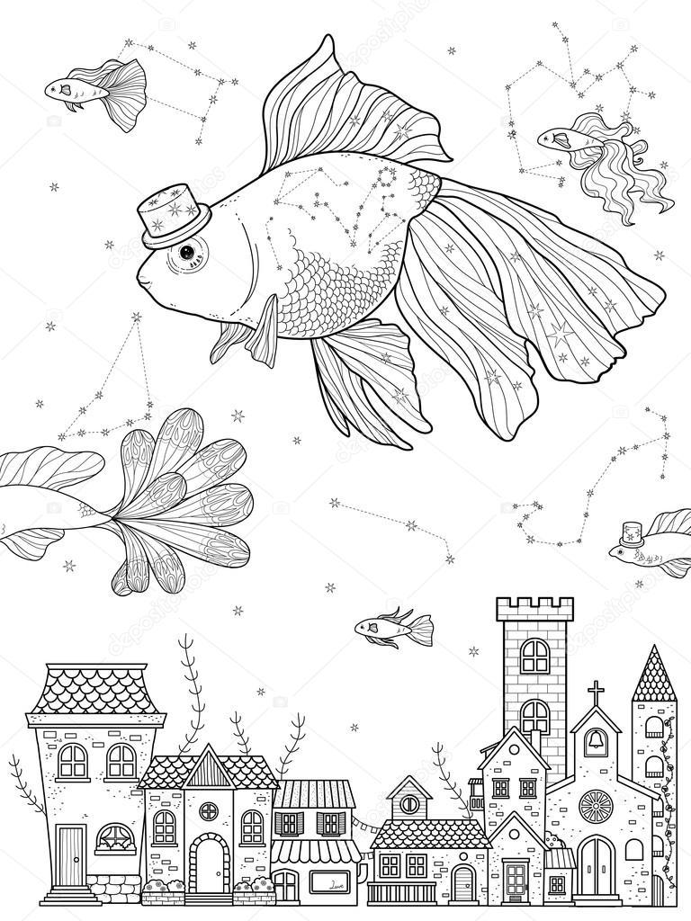 Süslü Akvaryum Balığı Boyama Sayfası Stok Vektör Kchungtw 103773256