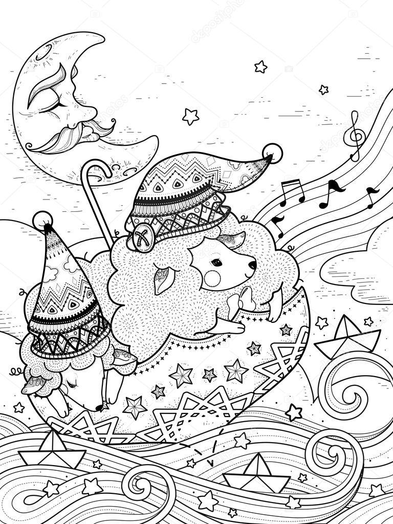 Página para colorear de ovejas mágico — Archivo Imágenes Vectoriales ...