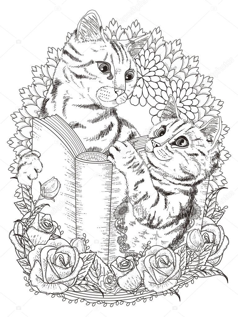 Schattige Katten Kleurplaten Pagina Stockvector C Kchungtw 103773290