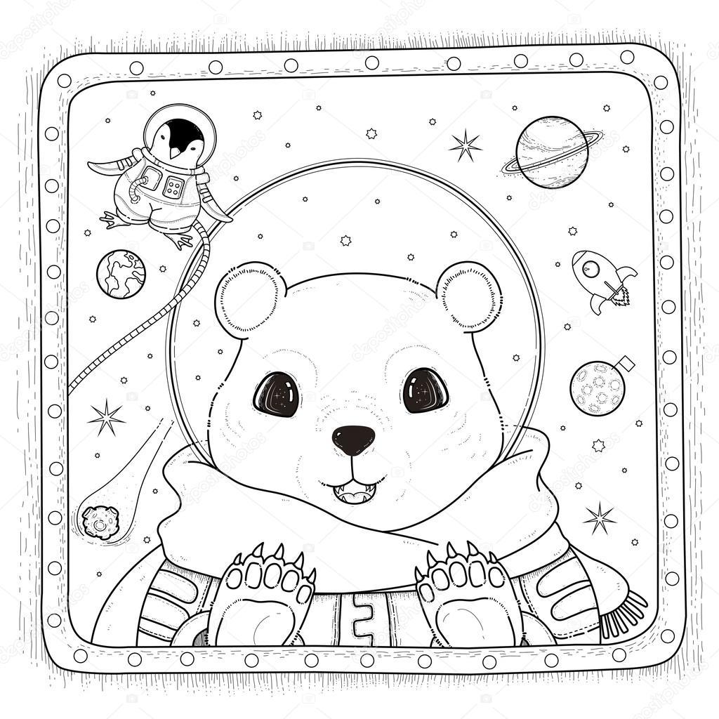 Kutup Ayısı Astronot Boyama Sayfası Stok Vektör Kchungtw 103773298