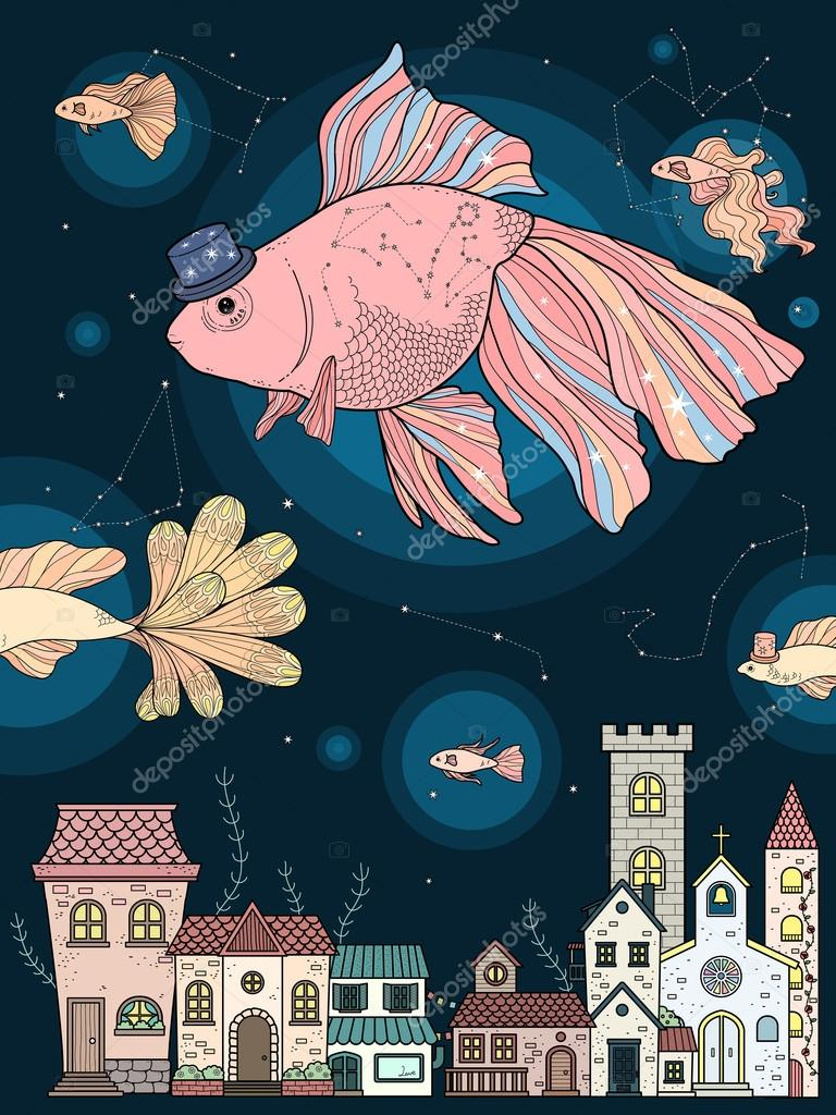 Página para colorear de Fancy goldfish — Vector de stock © kchungtw ...