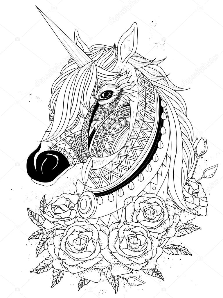 sacred unicorn coloring page u2014 stock vector kchungtw 103773362