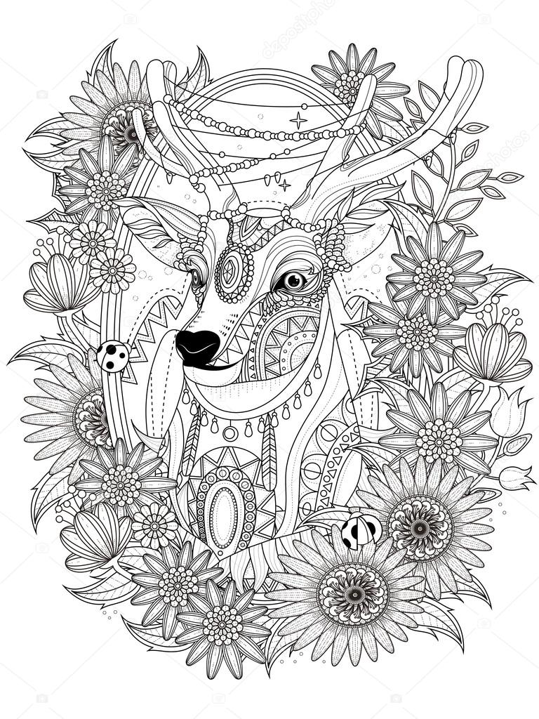 gorgeous deer coloring page — Stock Vector © kchungtw #103773368