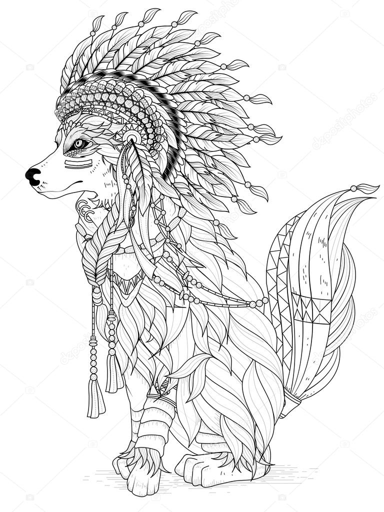 Lovely wolf coloring page — Stock Vector © kchungtw #103773396