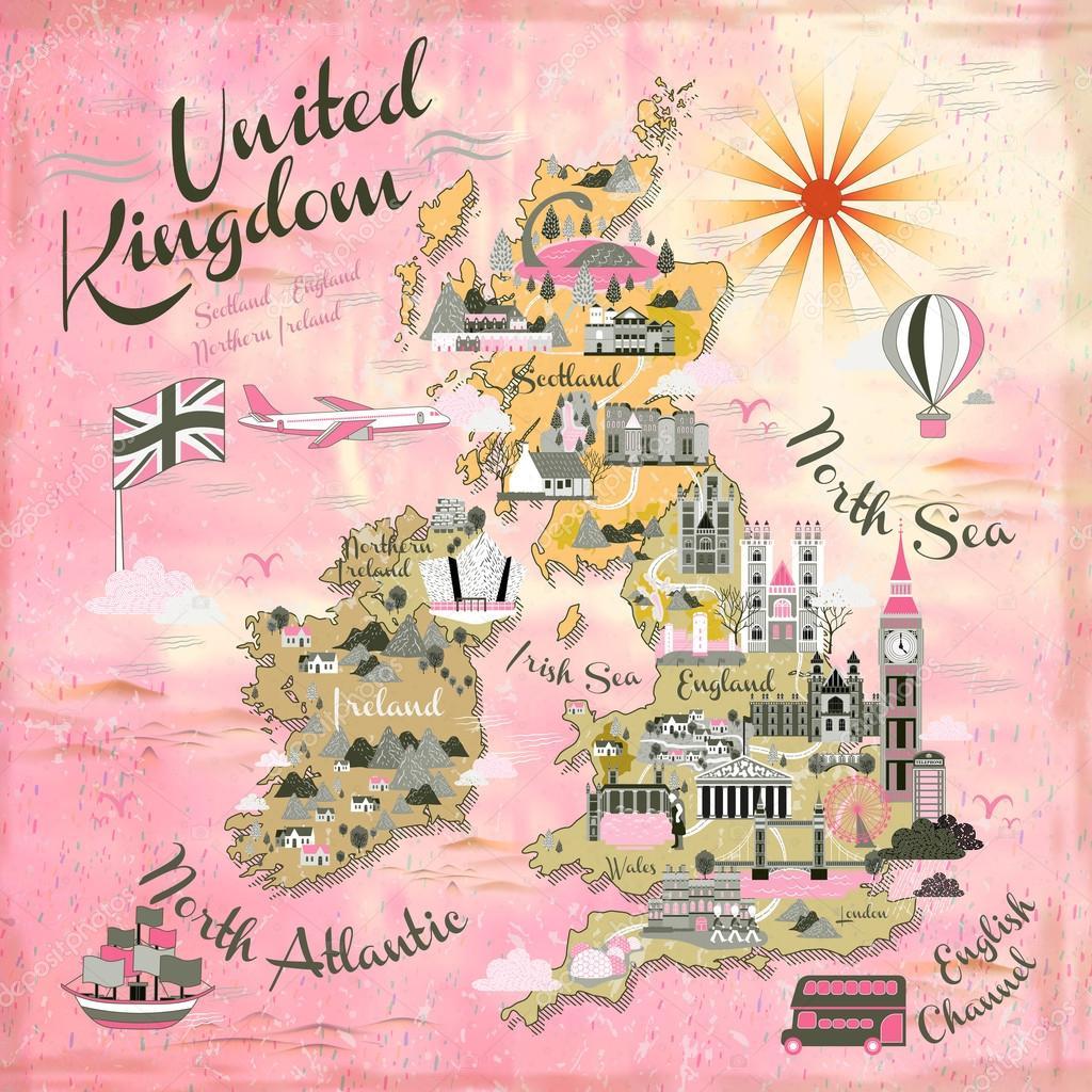 Sehenswürdigkeiten Großbritannien Karte.Großbritannien Reise Karte Stockvektor Kchungtw 105009244