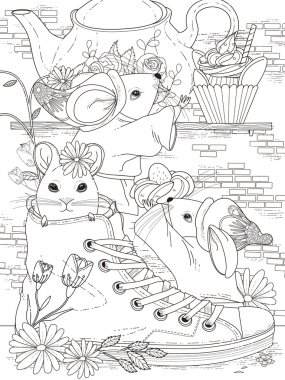 mice adult coloring page