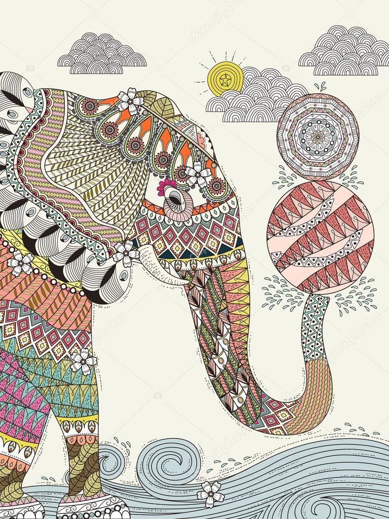 Elefant erwachsen Malseite — Stockvektor © kchungtw #105628334