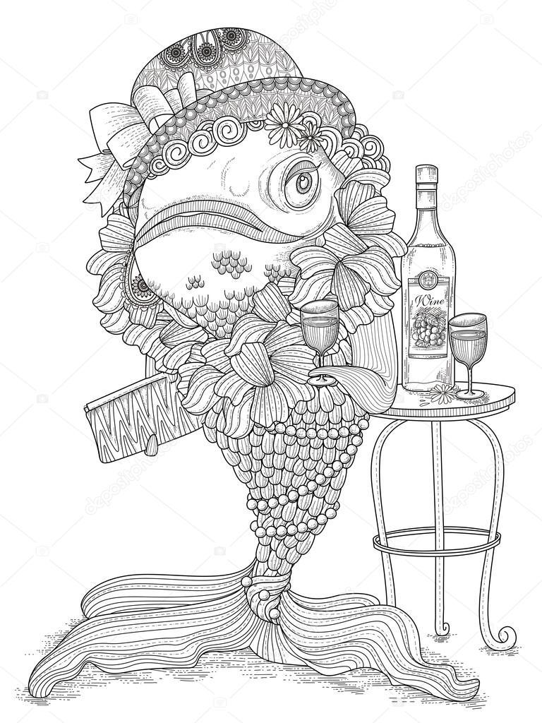 Página de adultos para colorear de peces de colores — Vector de ...
