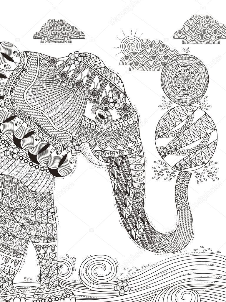 olifant volwassen kleurplaat stockvector 169 kchungtw