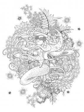 mermaid adult coloring page